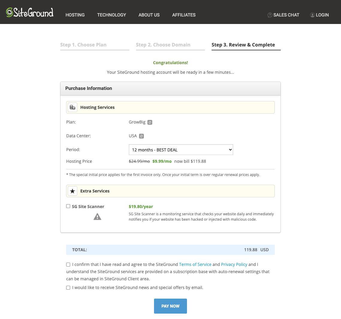 SiteGround Order Completion